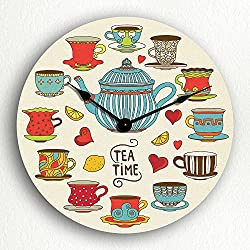 Tea Time Adorable Teapot and Teacups 12 Silent Wall Clock