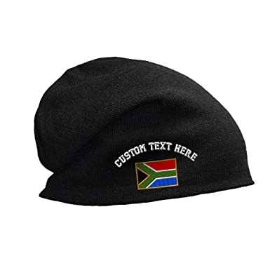 29a5c3846ca Custom Text Embroidered South Africa Unisex Adult Cotton Acrylic Slouch  Beanie Skully Hat - Black