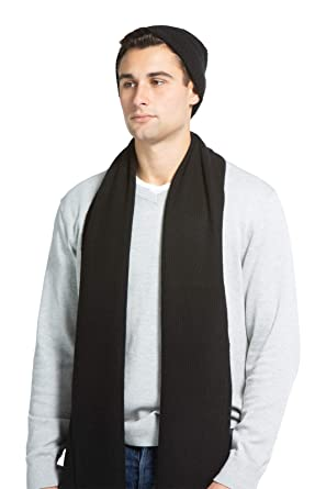 9048be08dd5 Fishers Finery Men s 100% Cashmere Ribbed Knit Hat and Scarf Gift Set (Black )
