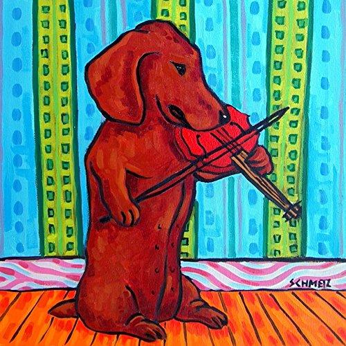 Dachshund playing Violin dog art tile coaster ()