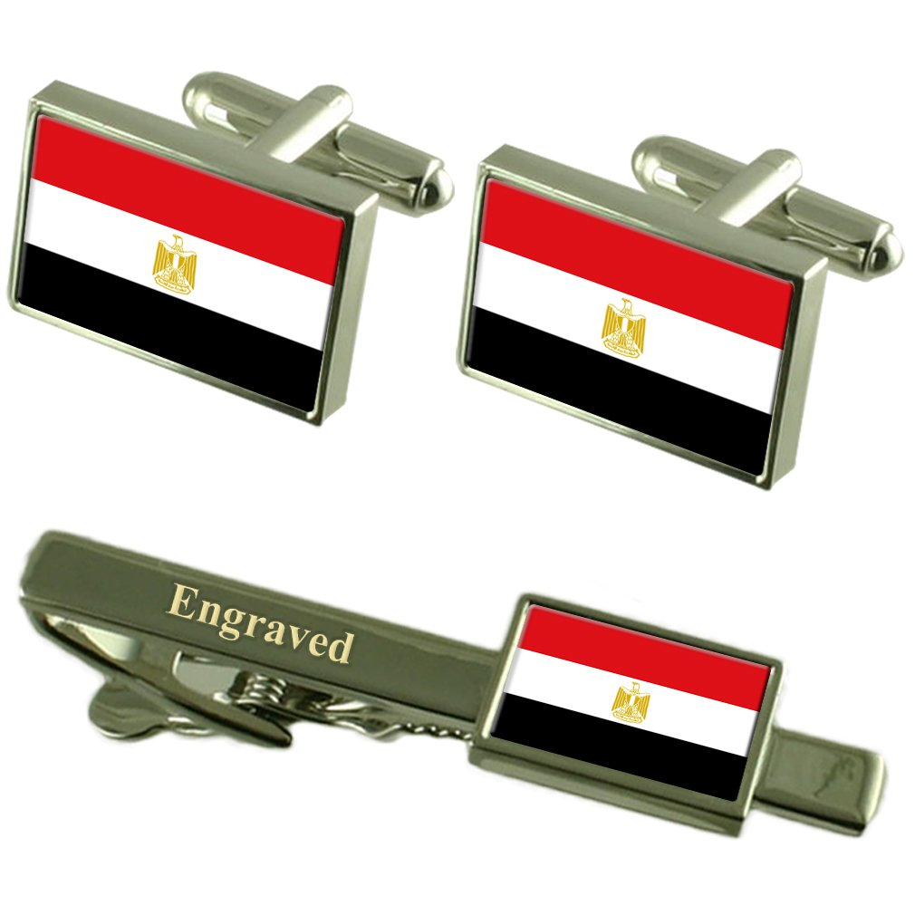 Select Gifts Egypt Flag Cufflinks Engraved Tie Clip Matching Box Set