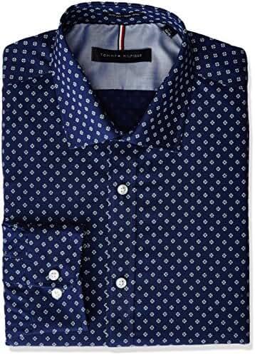 Tommy Hilfiger Men's Non Iron Slim Fit Print Spread Collar Dress Shirt