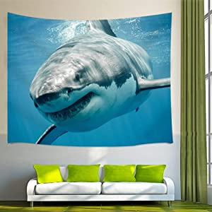 "NYMB Ocean Wall Art Home Decor, Shark Jaws Tusk Keenness Predation in Underwater Tapestry Wall Hanging for Bedroom Living Room Dorm, Beach Towel (Multi6, 60"" W by 40"" H)"