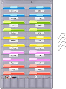 Heavy Duty Storage Pocket Chart with 20+6 Pockets, Hanging Wall File Organizer by Andmey, 4 Over Door Hangers Included, Perfect Pocket Chart for Classroom, School, Office or Home Use