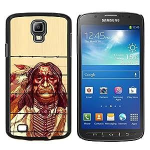 TECHCASE---Cubierta de la caja de protección para la piel dura ** Samsung Galaxy S4 Active i9295 ** --Plumas Hombre indio nativo Viejo Esqueleto