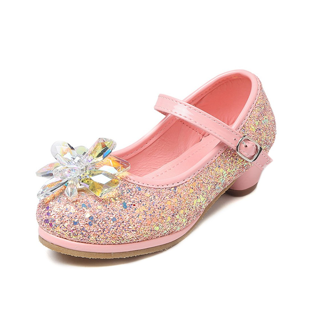 YIBLBOX Girls Kids Toddler Dress up Wedding Cosplay Princess Shoes Glitter Crystal Mary Jane Low Heel Shoes by YIBLBOX