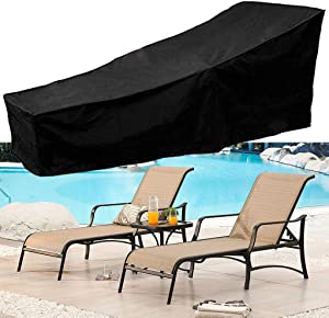 Lounge Patio Chair Cover, Waterproof 210D Patio Furniture Covers Outdoor with Sealed Seam Drawstring Bottom Buckle Durable Dustproof Anti-UV Day Chaise (Black)