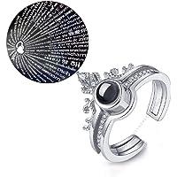 University Trendz 100 Languages I Love You Memory Crown Couple Rings Engagement Ring Set (Silver)