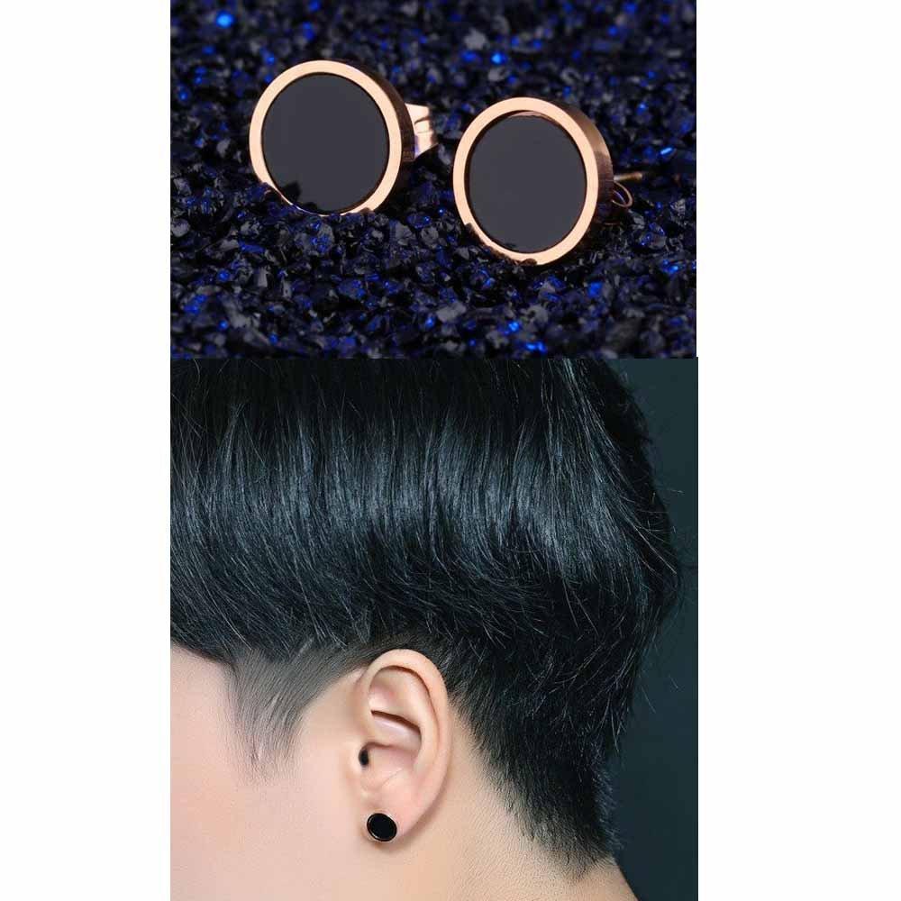 wattana 18K Rose Gold Black Enamel Round Ear Studs Women Titanium Steel Wedding Earrings Wat by wattana (Image #3)
