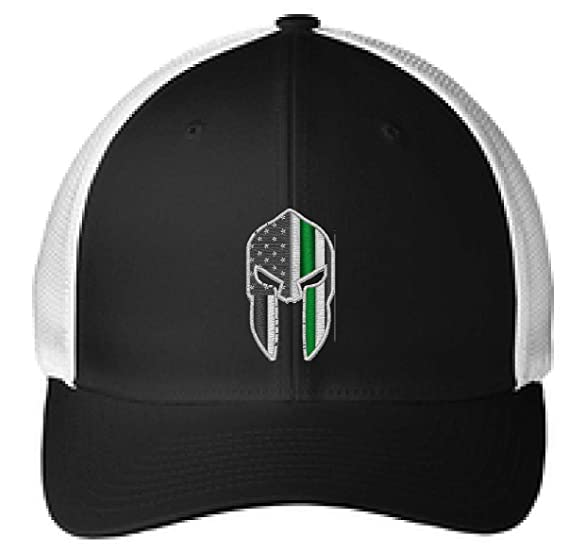48a9fac76938f Embroidered Thin Green Line Spartan Subdued American Flag Military Federal  Agent Flexfit Flex Fit Trucker Hat at Amazon Men s Clothing store