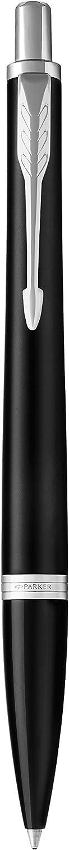 Parker 1975425 Urban Stylo bille finition noir estomp/ée avec attributs chrom/és pointe moyenne//recharge d/'encre Bleu