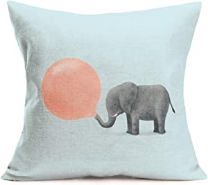 Fukeen Adorable Animals Elephant BlowBubbles Throw Pillow Cushion Cover Cotton Linen Home Kids Room Decor Square Standard 18x18 Inch Cartoon Pillow Case