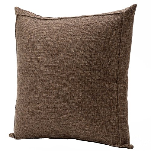 Jepeak Burlap Linen Throw Pillow Case Cushion Cover Farmhouse Decorative Solid Square Pillowcase, Thick, Luxury, Handmade with Invisible Zipper for Sofa Couch Bed (20 x 20 Inches, Dark Brown) ()