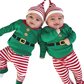 Infant Baby Toddler Boys Girls Christmas Clothes Outfit 0-24 Months,3Pcs Long Sleeve Romper+Stripe Pants+Hat Set