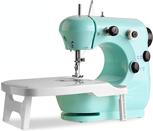 Opinión sobre Máquina de coser portátil Wadeo con pedal de pie, doble velocidad, máquina de coser con prensa intercambiable, para el hogar, principiantes, niños, niñas (azul)