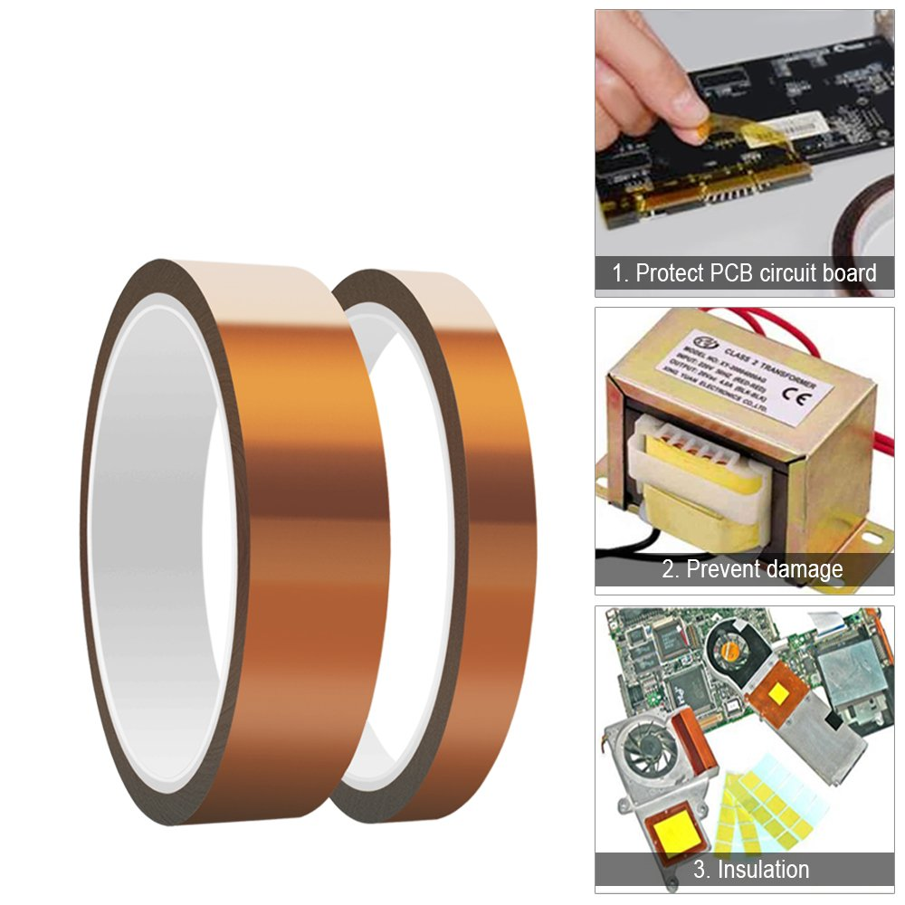 Heat Resistant Tape Aniann 4 Rolls High Temperature Circuit Board Kapton Sublimation 2 Sizes Polyimide Film Adhesive For Transfer Vinyl