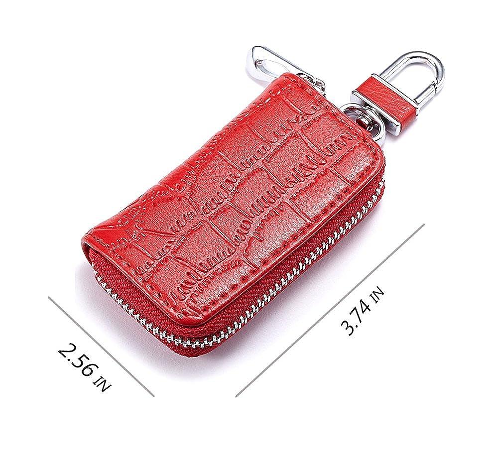 Good Fashion Genuine Leather Car Key Wallets Men Housekeeper Keys Organizer Women Key Chain Covers Zipper Key Case Bag Pouch Purse Key Wallets