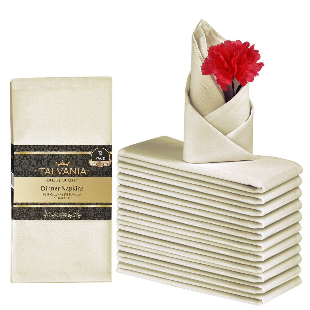 Talvania Cloth Dinner Napkins - 12 Pack Luxuriously Soft & Hotel Quality Cotton Napkins, Brilliant Fabric Napkins (18'' X 18'') Perfect for Events, Hotel & Home Use (Ivory) by Talvania
