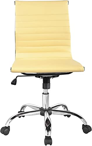 Winport Furniture Mid-Back Leather Armless Office/Home Desk Chair