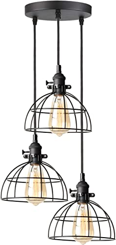 AILIN Retro Style 3 Lights Pendant Chandelier Light Fixtures with Adjustable Textile Antique Cord, Industrial Simple Home Hanging Ceiling Light Fixture with Premium Black Metal Wire Cage