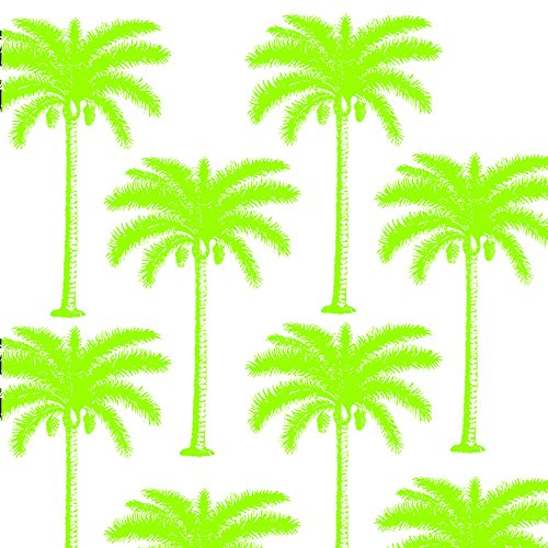 Paperproducts Design 1251216 Tropical Palm Tree Paper Beverage/Cocktail Napkin, 5 by 5-Inch, Lime Green