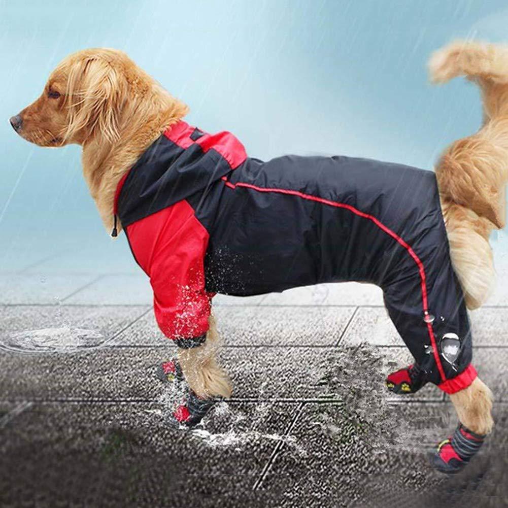 3XL Hooded Dog Raincoat,Dog Waterproof Raincoat Rain Jacket Poncho Rainwear Reflective for Medium and Large Dog Black+ Red 3XL,3XL