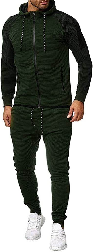 Mens Autumn Gradient Print Sweatshirt Top Pants Sets Pleated Zip-Splicing Long-Sleeve Hooded Sport Suit Tracksuit M-5XL