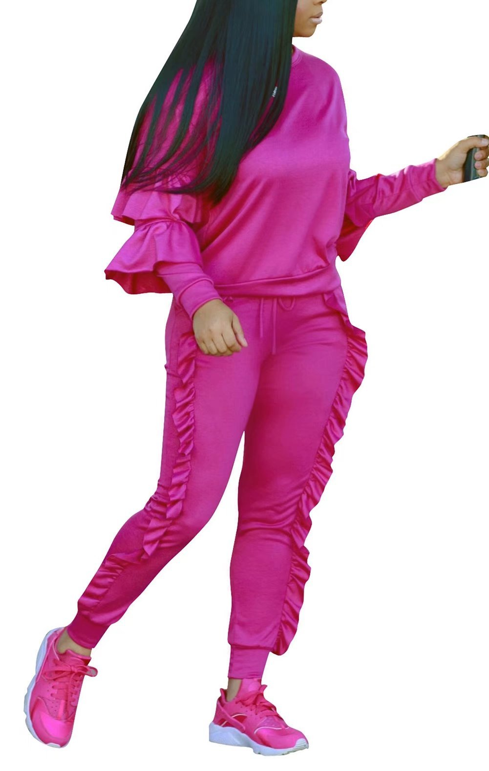 FOUNDO Women's Tracksuit Peplum Long Sleeve Tops and Ruffle Sweatpants 2 Pcs Set Rose M