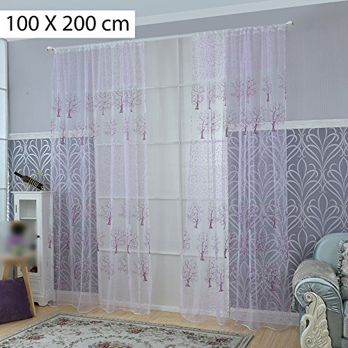 Voile Curtains Drape Offset Print Tree Tulle Sheer Door Window Screening Curtain for Bedroom Living Room Hotel Decoration Purple 100x200 cm - Hotel Collection Windows