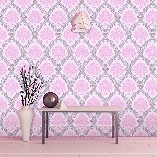 (LIFAVOVY Pink Damask Peel and Stick Wallpaper Waterproof Removable Contact Paper Decorative Self Adhesive Shelf Drawer Liner Roll 17.7