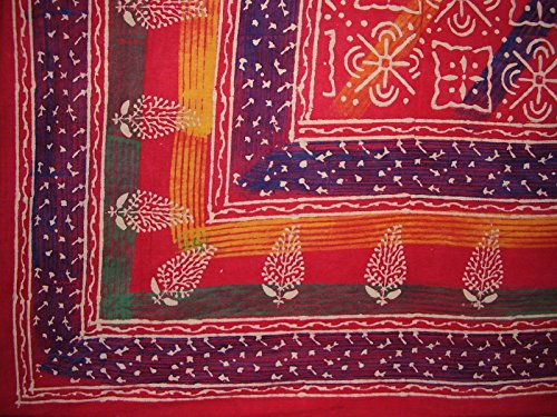 "Indian Block Print Tapestry Cotton Bedspread 106"" x 106"" Que"