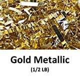 Crinkle Cut Paper Shred Filler (1/2 LB) for Gift Wrapping & Basket Filling - Gold Metallic | MagicWater Supply
