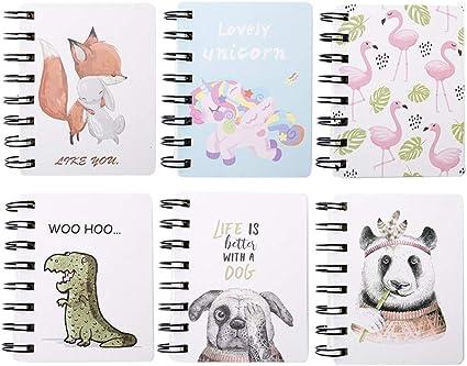 Yuccer Mini Cuaderno Bolsillo Libreta Notas Infantil Cute Notebook Cuaderno Pequeño Pack de 6 Libreta de Espiral (Rosa): Amazon.es: Oficina y papelería