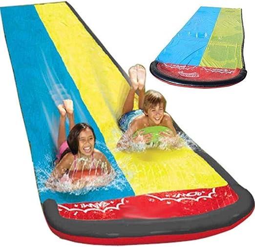 Slide Doble de Agua del césped Agua toboganes for niños Piscina de Verano Niños Diversión Juegos Juguetes del Patio Trasero al Aire Libre Wave Rider LMMS: Amazon.es: Jardín