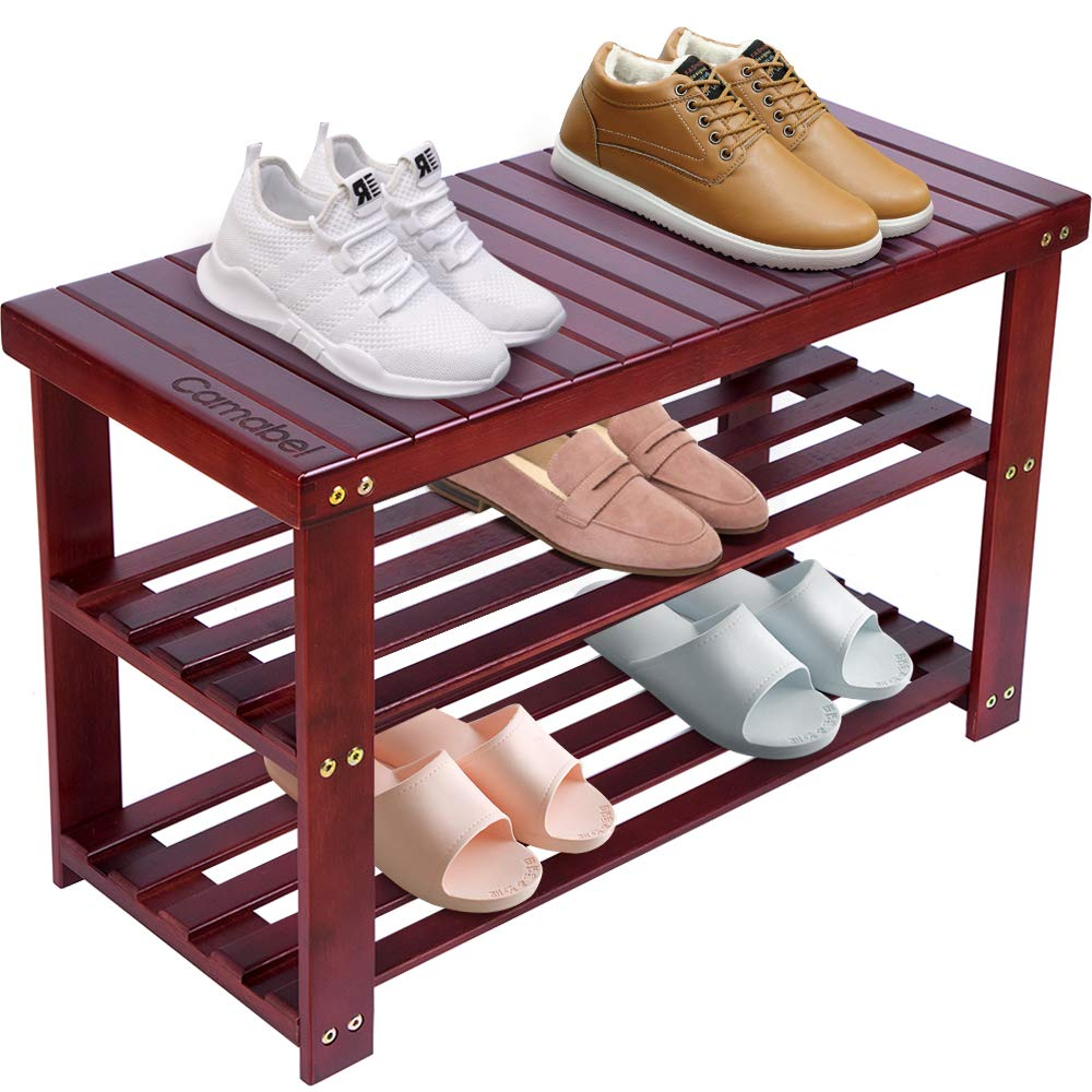 Shoe Rack Bench 3-Tier Bamboo Shoe Organizer Storage Shelf Hold Up 268 Lbs for Entryway Hallway Bathroom Living Room Corridor Boot Storage Shoe Box Free Standing Storage with Seat Sneaker
