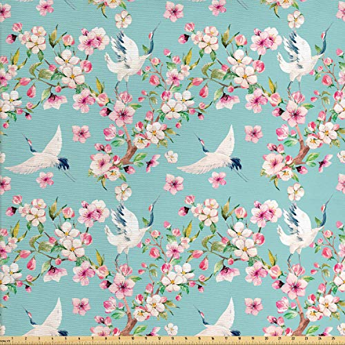 Ambesonne Flowers Fabric by The Yard, Watercolor Art Style Flying Crane Birds with Pink Sakura Cherry Blossoms Exotic, Decorative Fabric for Upholstery and Home Accents, 1 Yard, Multicolor