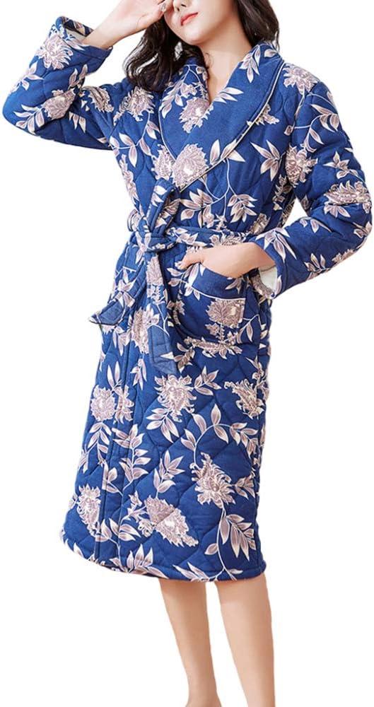 Albornoz De Algodón Cálido De Invierno Mujer hasta La Rodilla Bata De Baño Bata Ropa De Dormir, Blue-M: Amazon.es: Ropa y accesorios
