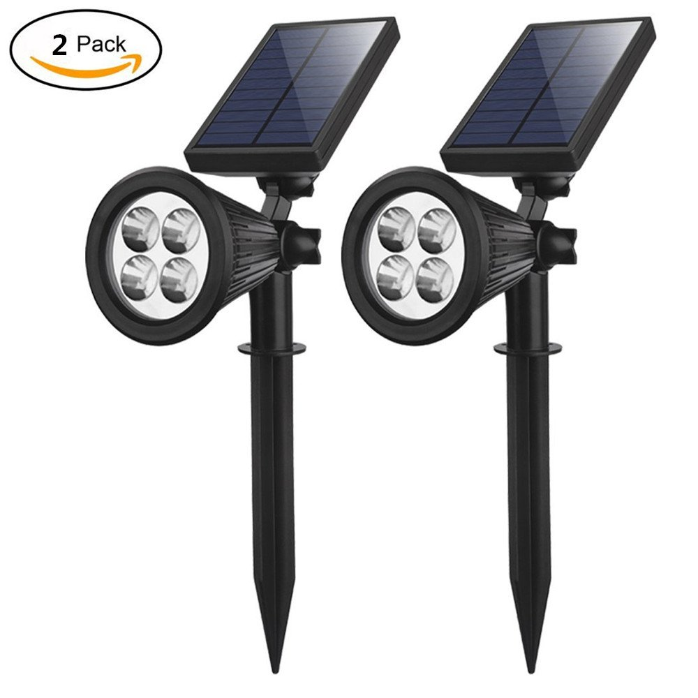 TechCode 2 PCS LED Lights, Solar Lamps 5V 2W Torches IP44 Sensor Spot Fence Panel Pole LED Garden Lights Stair Light Outdoor Lighting for Front Door/Yard/Driveway/Lawn/ Landscape/Pathway/Patio(2 PCS)