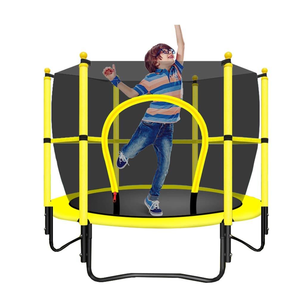 Gartentrampoline Trampolin Kinder Trampolin Fitnessgeräte Indoor Trampolin mit Netz Kinder Bounce Bett Fitness Trampolin (Farbe : Gelb, Größe : 120  120  130cm)