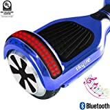 """Self Balancing Scooter (MAX 220 lbs), Skque I1.4 UL2272 Chrome 6.5"""" Smart Two Wheel Self Balancing Electric Scooter with Bluetooth Speaker with LED Lights, Blue"""