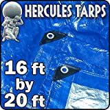 16x20 Waterproof Tarp Blue and Silver Tarp Cover Waterproof Tarpaulin Plastic Tarps Protection Sheet Shelter for Co
