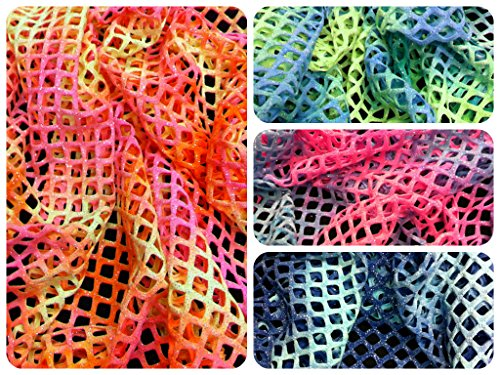 Diamond Mesh Big Hole 0.5 Inch Multi-color Tie-dye Pattern w/ Silver Sparkly Glitter Stretch Polyester Spandex Fabric By the Yard (Orange/Pink)