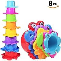 NEEDOON Amusement et couleurs vives sous la mer Animaux jouets de bain/tasses d'empilage de sable pour les garçons et les filles.