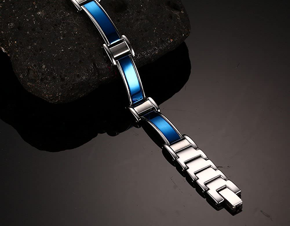 XUANPAI Stainless Steel Church of Satan Satanic Leviathan Cross Symbol Adjustable Magnetic Therapy Link Bracelet
