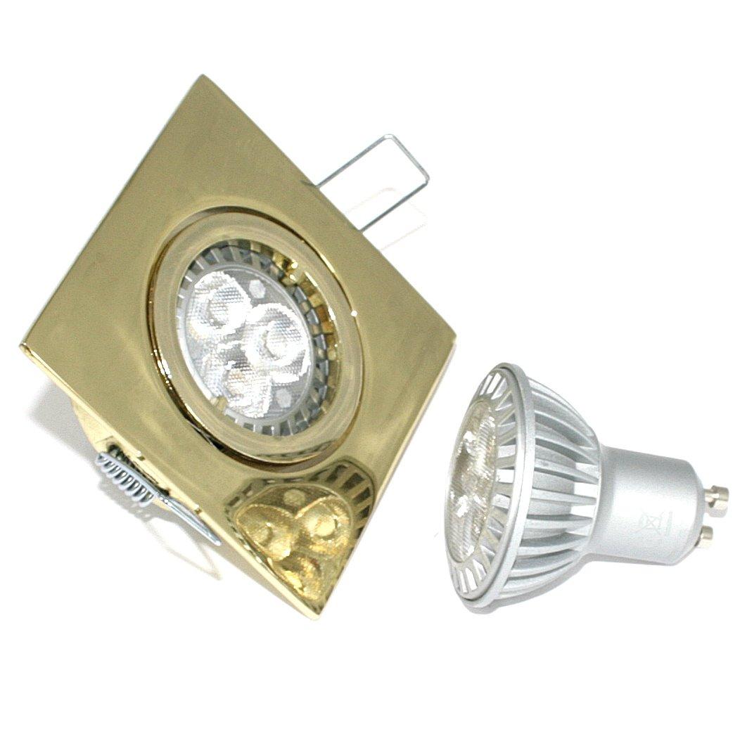 3er Set Einbaustrahler Max-Square GU10 Farbe Gold 5W Power LED Warmweiß entspricht einer 50W Lampe IP20