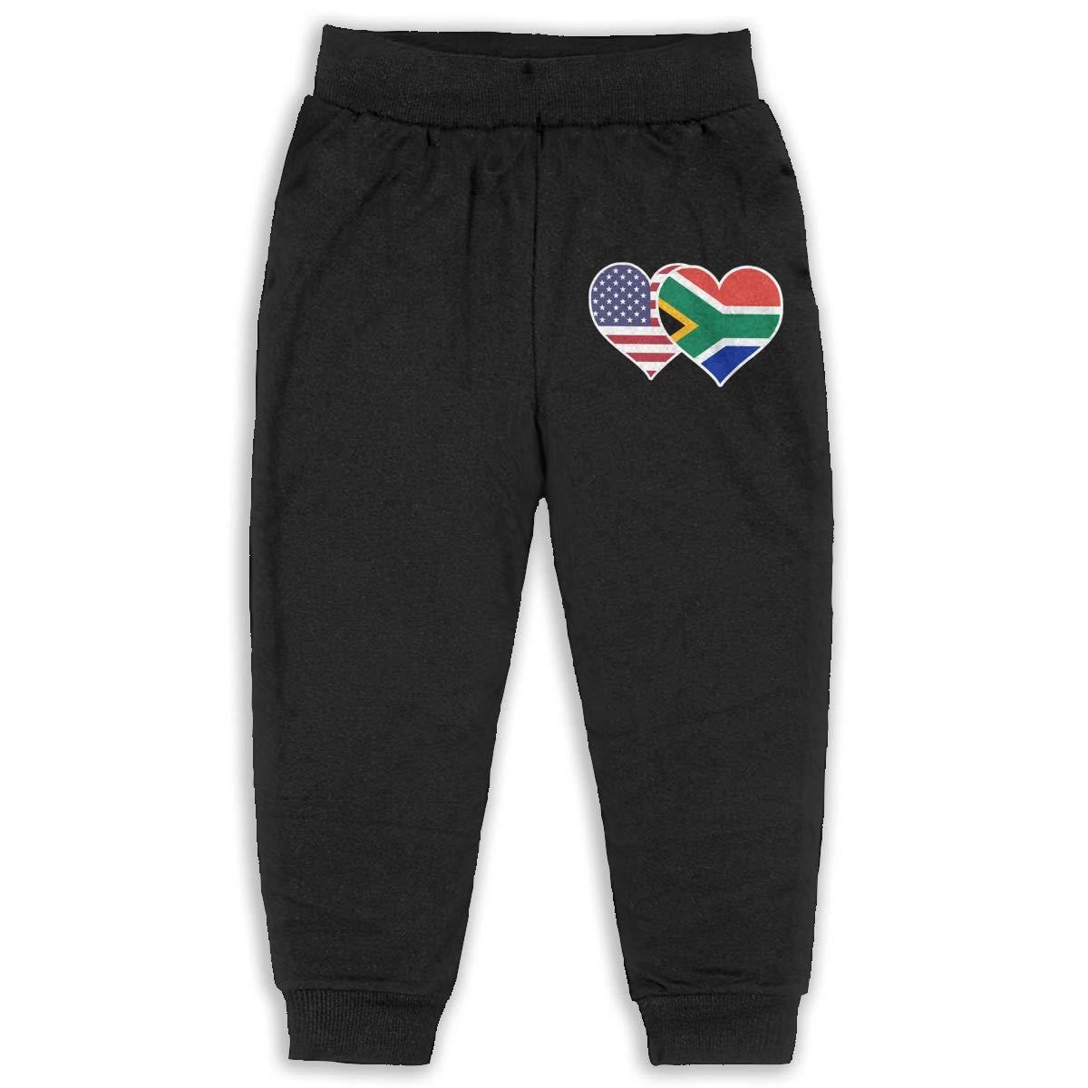 ELCW37K Kids /& Toddler Pants Soft Cozy Baby Sweatpants American South African Flag Heart Fleece Pants Training Pants