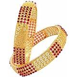 Zeneme Antique Golden Pota Stone Studded Handmade Bangle Set Jewellery For Women and Girls
