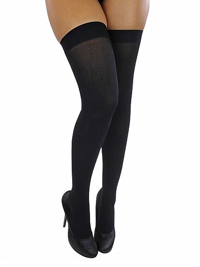 952011f7ecabc Amazon.com: Black Opaque Thigh High Stockings: Clothing