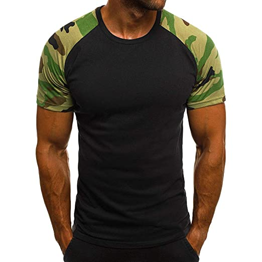 032a0eb5f0c Forthery Mens Camouflage T Shirts Hip Hop Ripped Short Sleeve Slim Fit Shirt (Black
