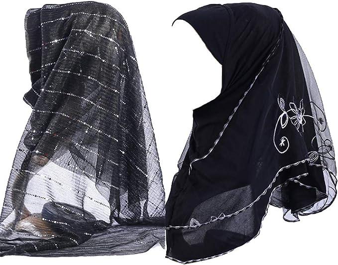 topuhair Sciarpe Donna Doppia Faccia Perforazione Velo Musulmano 145g Pearl Chiffon Coverchief 70x170cm Donne Headcloth